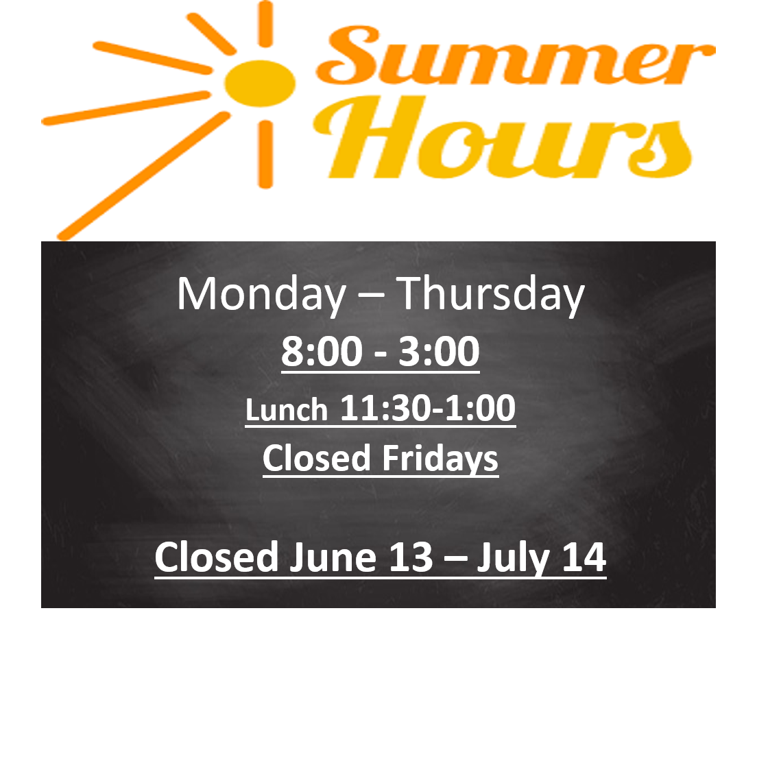 CES Summer Hours