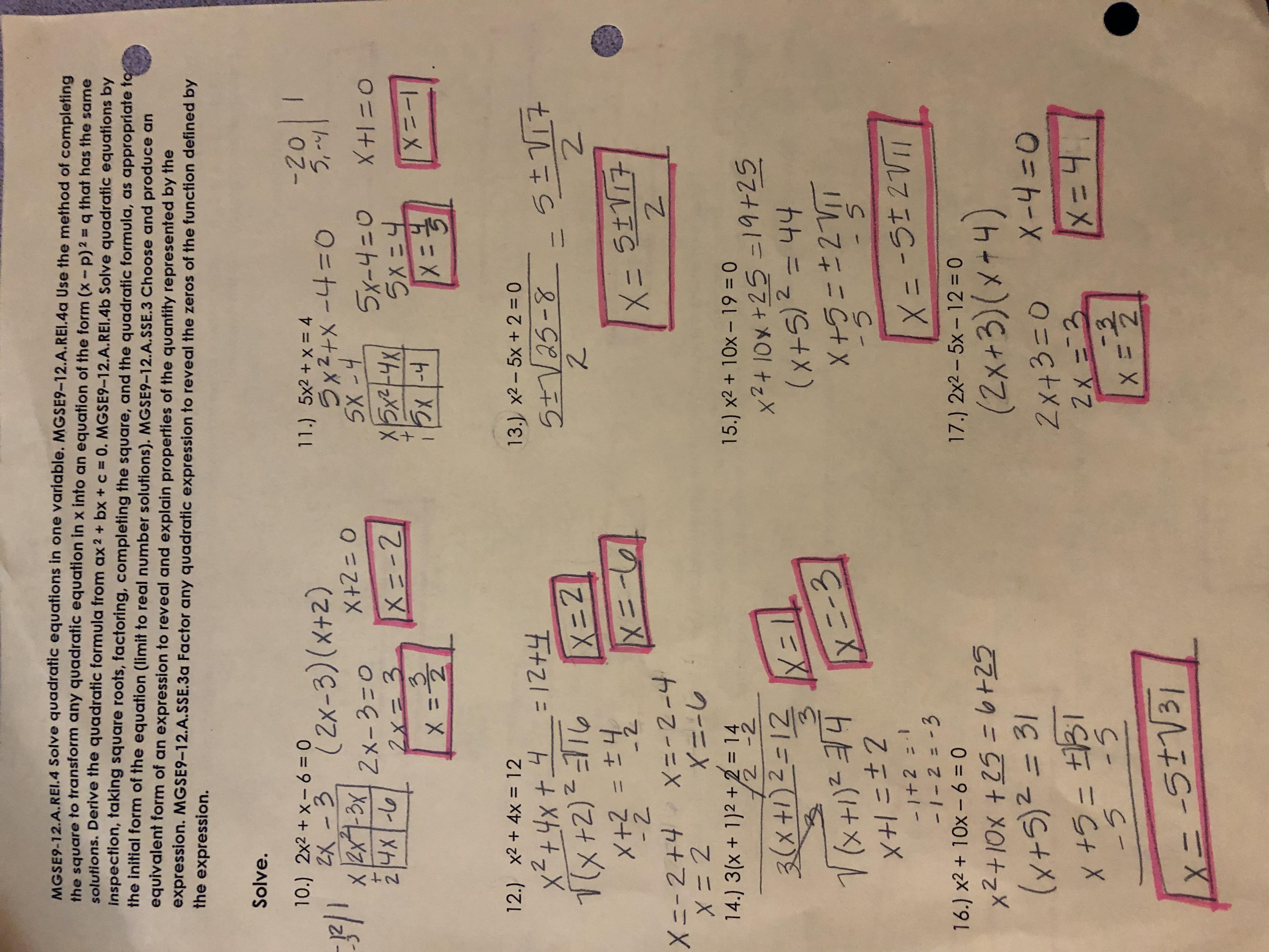 Unit 4 Solving Quadratic Equations Answer Key Gina Wilson ...