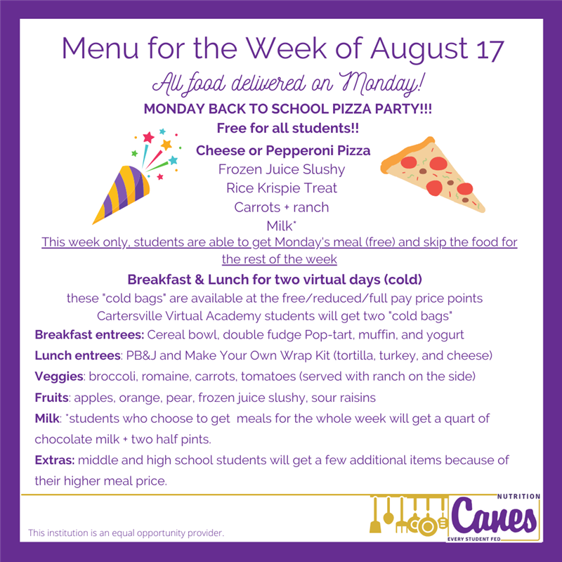 Menu for the Week of August 17