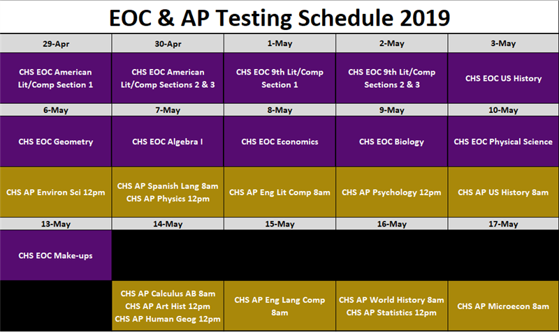 CHS EOC and AP Testing Schedule