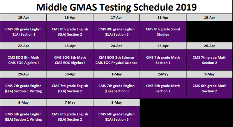 Middle School Testing Schedule